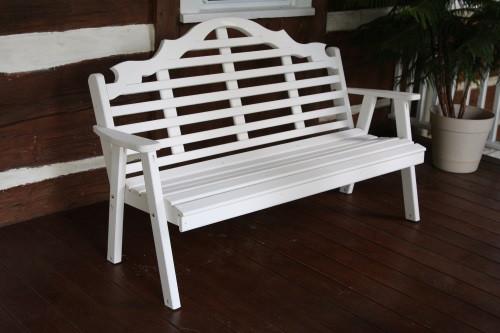 6' Marlboro Yellow Pine Garden Bench - White