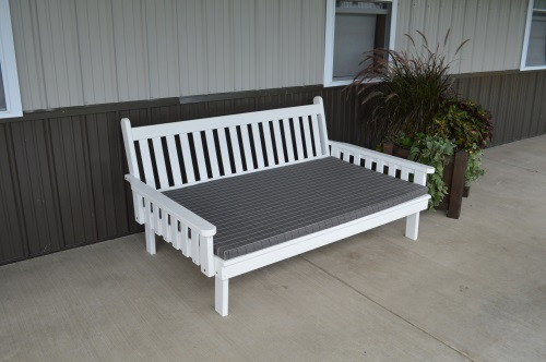 4' Traditional Yellow Pine Daybed - White w/ Cushion