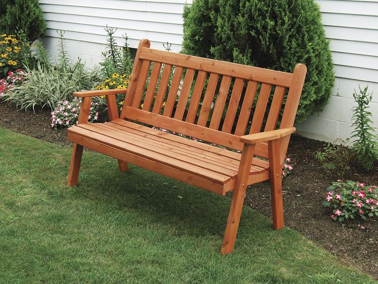 4' Cedar Traditional English Garden Bench