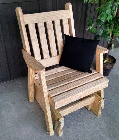 Traditional English Yellow Pine Glider Chair - Unfinihsed
