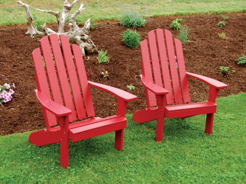 Kennebunkport Yellow Pine Adirondack Chair   Tractor Red
