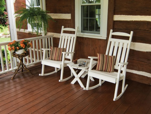 Classic Yellow Pine Porch Rocker - White w/ Cushions