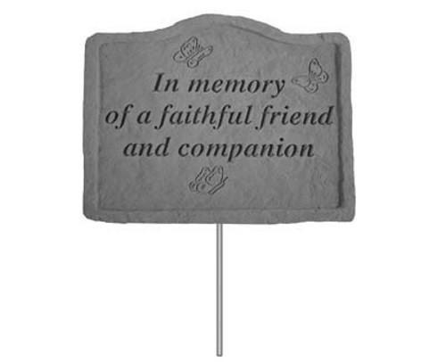In memory of a faithful friend...Pet Memorial Garden Stake