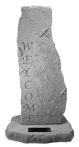 Totem with Flowers - Welcome Garden Stone