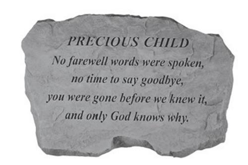 No Farewell Words were spoken...Memorial Garden Stone - Precious Child