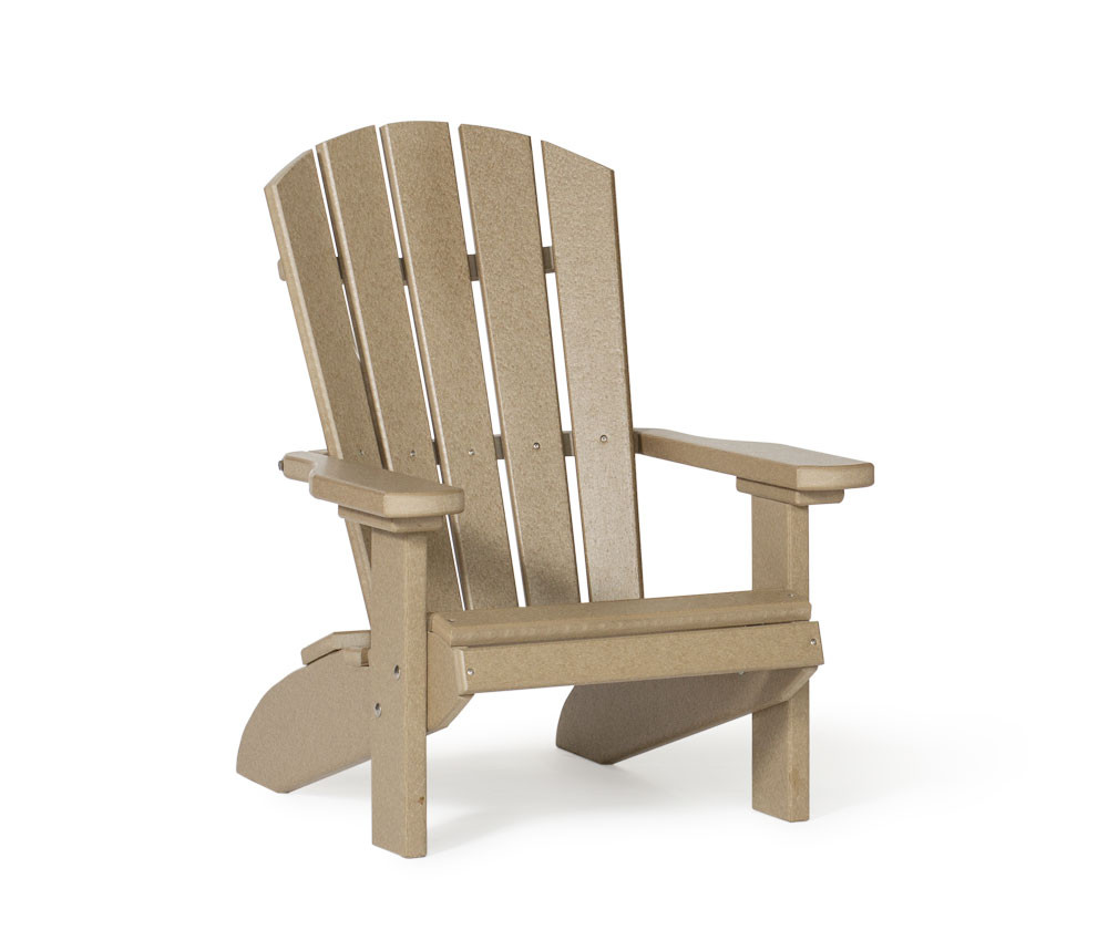 Kid's Fan Back Polywood Adirondack Chair - Weatherwood