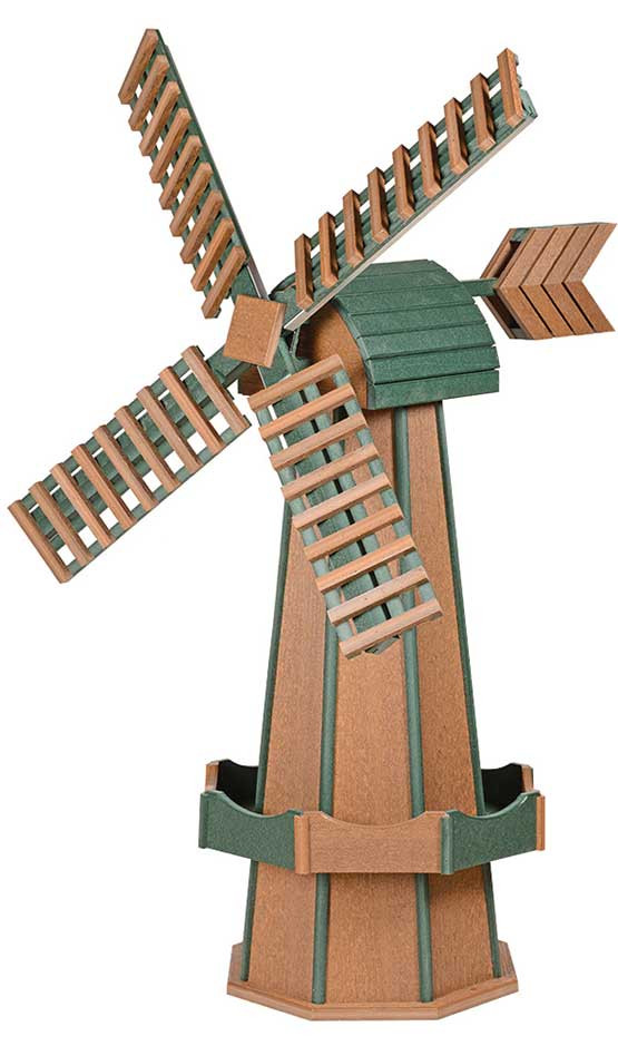 Large Poly Garden Windmill - Mahogany & Turf Green