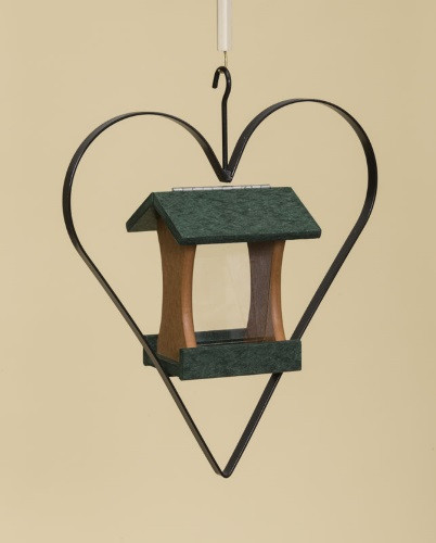 Poly Wood Mini Bird Feeder with Heart - Turf Green Roof & Floor/Cedar Side Walls