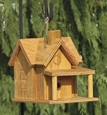 Porch & Chimney Birdhouse with clear wood finish