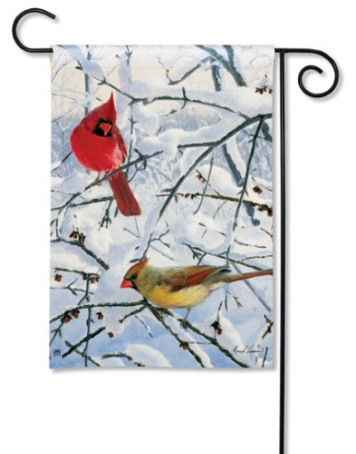 Winter Morning Cardinals Garden Flag