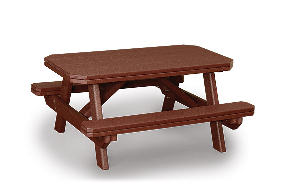 Kids Poly Picnic Table with Attached Benches