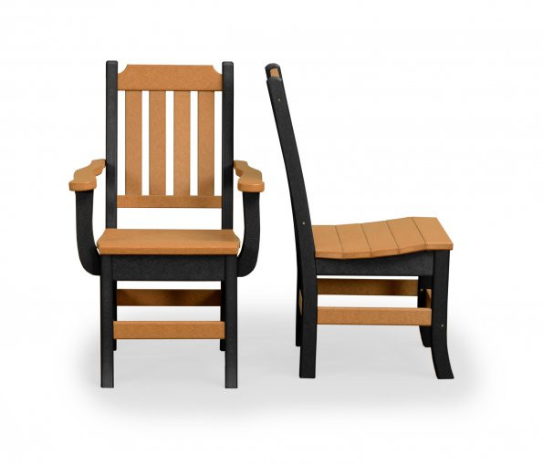 Keystone Poly Dining Chair w/ Arms - Cedar & Black