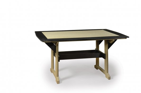 Great Bay Poly Table - Weatherwood & Black