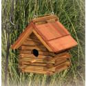 Log Cabin Birdhouse w/ Cedar Roof
