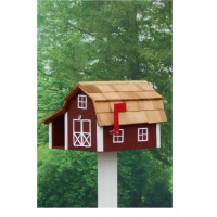 Traditional Barn Mailbox Combo - Red & White