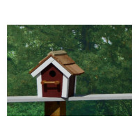 Cedar Roof Birdhouse - Red & White