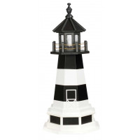 3' Amish Crafted Hybrid Garden Lighthouse - Fire Island - Black & White