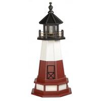 3' Amish Crafted Hybrid Garden Lighthouse - Vermillion - Black, White & Cherrywood