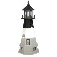 4' Amish Crafted Hybrid Garden Lighthouse - Oak Island - Black, White & Grey