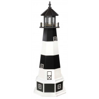 5' Amish Crafted Wood Garden Lighthouse w/ Base - Bodie Island - Black & White