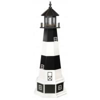 5' Amish Crafted Wood Garden Lighthouse w/ Base - Bodie Island - Black & White