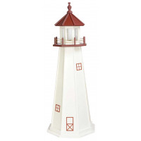 5' Amish Crafted Wood Garden Lighthouse - Marblehead - White & Cherrywood