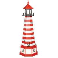 5' Amish Crafted Hybrid Garden Lighthouse - West Quoddy - Cardinal Red & White