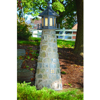 6' Stone Lighthouse with grey trim & top.