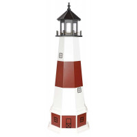 6' Amish Crafted Hybrid Garden Lighthouse - Montauk - Cherrywood & White