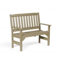 Poly English Garden Bench - Weatherwood