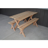 5' Crosslegged Economy Cedar Picnic Table w/ 2 Benches - Unfinished