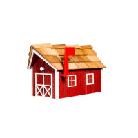 Wooden Barn Mailbox w/ Cedar Shake Roof - Cardinal Red & White