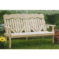 4' High Back Heart Bench