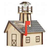 Deluxe Wood Lighthouse Mailbox w/ Aluminum Diamond Plate Roof - Ivory & Brown