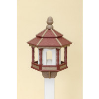 Small Hexagon Polywood Bird Feeder - Cherry/Weatherwood/White - Post Mount
