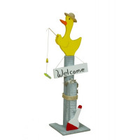 Duck Decorative Pier Post w/ Welcome Sign