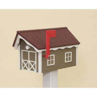 Dutch Barn Poly Mailbox - Weatherwood Base/Cherry Wood Roof/White Trim