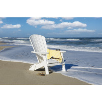 Folding Fan Back Polywood Adirondack Chair - White