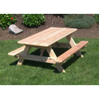Kid's Cedar Picnic Table with Attached Benches