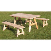 4' Cedar Traditional Picnic Table w/ 2 Benches - Unfinished