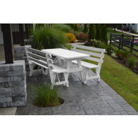 6' Traditional Yellow Pine Picnic Table w/ 2 Backed Benches  - White