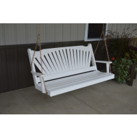 5' Fan Back Yellow Pine Porch Swing - Shown in White