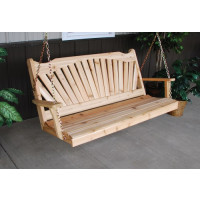 6' Fanback Cedar Porch Swing - Unfinished