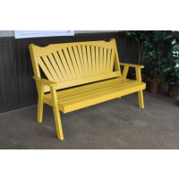 5' Fanback Yellow Pine Garden Bench - Canary Yellow