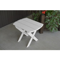 Folding Oval Yellow Pine End Table - White