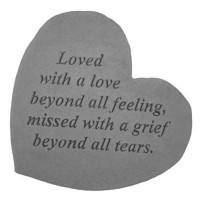Loved with a love beyond all feeling...Small Heart Memorial Garden Stone