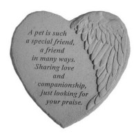 A pet is such a special friend..Winged Heart Memorial Garden Stone