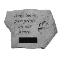 Dogs Leave Paw Prints on our Hearts w/ Paw Print Pet Memorial Garden Stone