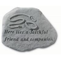 Here Lies a Faithful Friend...Pet Memorial Garden Stone w/ Leash & Collar