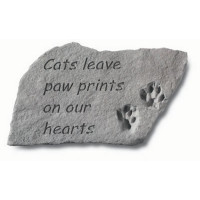 Cats Leave Paw Prints on our Hearts Pet Memorial Garden Stone